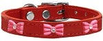 Pink Glitter Bow Widget Genuine Leather Dog Collar Red 10