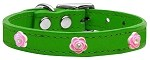 Bright Pink Rose Widget Genuine Leather Dog Collar Emerald Green 12