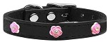 Bright Pink Rose Widget Genuine Leather Dog Collar Black 10