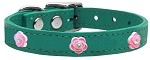 Bright Pink Rose Widget Genuine Leather Dog Collar Jade 10