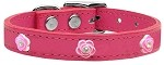 Bright Pink Rose Widget Genuine Leather Dog Collar Pink 10