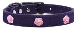 Bright Pink Rose Widget Genuine Leather Dog Collar Purple 10