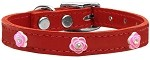 Bright Pink Rose Widget Genuine Leather Dog Collar Red 10