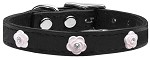 Light Pink Rose Widget Genuine Leather Dog Collar Black 10