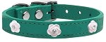 Light Pink Rose Widget Genuine Leather Dog Collar Jade 10