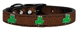 Shamrock Widget Genuine Metallic Leather Dog Collar Bronze 10