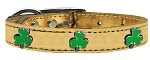Shamrock Widget Genuine Metallic Leather Dog Collar Gold 10