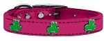 Shamrock Widget Genuine Metallic Leather Dog Collar Pink 10