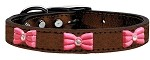 Pink Glitter Bow Widget Genuine Metallic Leather Dog Collar Bronze 10