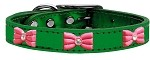 Pink Glitter Bow Widget Genuine Metallic Leather Dog Collar Emerald Green 10
