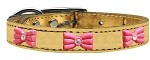 Pink Glitter Bow Widget Genuine Metallic Leather Dog Collar Gold 10