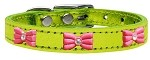 Pink Glitter Bow Widget Genuine Metallic Leather Dog Collar Lime Green 10