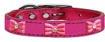 Pink Glitter Bow Widget Genuine Metallic Leather Dog Collar Pink 10