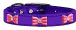 Pink Glitter Bow Widget Genuine Metallic Leather Dog Collar Purple 10