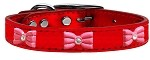 Pink Glitter Bow Widget Genuine Metallic Leather Dog Collar Red 10