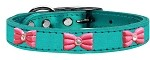 Pink Glitter Bow Widget Genuine Metallic Leather Dog Collar Turquoise 10