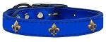 Bronze Fleur De Lis Widget Genuine Metallic Leather Dog Collar Blue 10