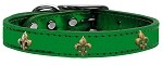 Bronze Fleur De Lis Widget Genuine Metallic Leather Dog Collar Emerald Green 10