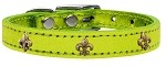 Bronze Fleur De Lis Widget Genuine Metallic Leather Dog Collar Lime Green 10