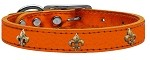 Bronze Fleur De Lis Widget Genuine Metallic Leather Dog Collar Orange 10