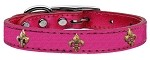 Bronze Fleur De Lis Widget Genuine Metallic Leather Dog Collar Pink 10