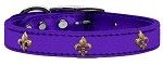 Bronze Fleur De Lis Widget Genuine Metallic Leather Dog Collar Purple 10