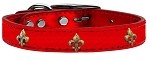 Bronze Fleur De Lis Widget Genuine Metallic Leather Dog Collar Red 10