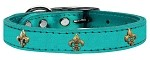 Bronze Fleur De Lis Widget Genuine Metallic Leather Dog Collar Turquoise 10