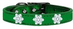 Snowflake Widget Genuine Metallic Leather Dog Collar Emerald Green 24