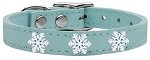 Snowflake Widget Genuine Leather Dog Collar Baby Blue 10