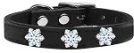Snowflake Widget Genuine Leather Dog Collar Black 10