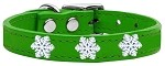 Snowflake Widget Genuine Leather Dog Collar Emerald Green 10