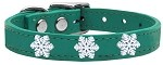 Snowflake Widget Genuine Leather Dog Collar Jade 10