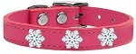 Snowflake Widget Genuine Leather Dog Collar Pink 10