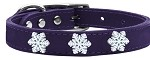 Snowflake Widget Genuine Leather Dog Collar Purple 10