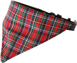 Red Plaid Bandana Pet Collar Black Size 18