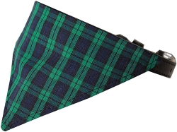 Green Plaid Bandana Pet Collar Black Size 16