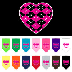 Argyle Heart Pink Screen Print Bandana