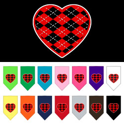 Argyle Heart Red Screen Print Bandana