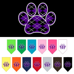Argyle Paw Purple Screen Print Bandana