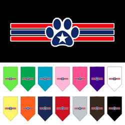 Patriotic Star Paw Screen Print Bandana