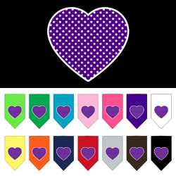 Purple Swiss Dot Heart Screen Print Bandana