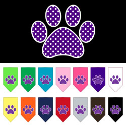 Purple Swiss Dot Paw Screen Print Bandana
