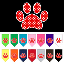 Red Swiss Dot Paw Screen Print Bandana