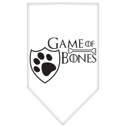 game of bones screen print bandana white small