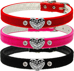 Velvet Puffy heart Charm Collars