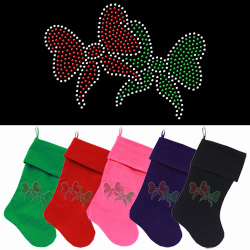 Christmas Bows Rhinestone 18 Inch Velvet Christmas Stocking