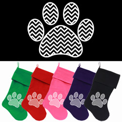 Chevron Paw Screen Print 18 inch Velvet Christmas Stocking