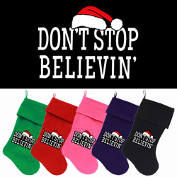 Don't Stop Believin Screen Print 18 inch Velvet Christmas Stocking