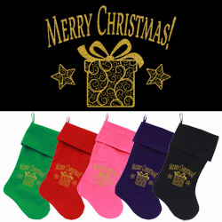 Golden Christmas Present Screen Print 18 inch Velvet Christmas Stocking